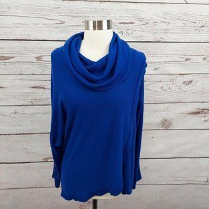 NY Collection Faux Wrap Cowl Neck Sweater Blue M